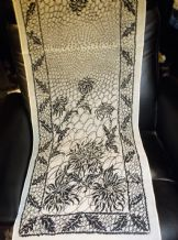 "LADIES GENUINE VINTAGE CHIFFON SCARF PALE OYSTER WITH BOLD BLACK PRINT 17"" X 60"""